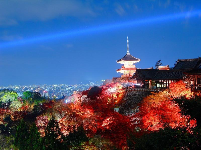 PhotoFly Travel Club | Kiyomizu-dera_and_Kyoto_at_night | PhotoFly Travel Club